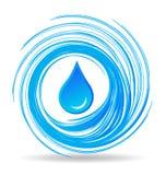 Descenso del agua y ondas del azul stock de ilustración