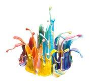 Descenso del color y chapoteo de la pintura Imagen de archivo libre de regalías