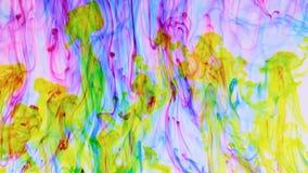 Descensos amarillos de la tinta en fondo rojo, azul Pintura colorida en flujo dinámico almacen de video