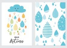 Descensos coloridos divertidos de las nubes de lluvia fijadas Carácter lluvioso de la sonrisa del fondo de la caída de la bandera Imagenes de archivo