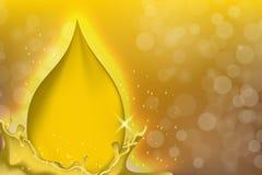 Descensos del aceite de oro en fondo amarillo con los rayos brillantes Gotitas del suero de la esencia o del oro del colágeno Ilu stock de ilustración