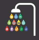 Descensos del agua del app de una cabezal de ducha Fotografía de archivo libre de regalías
