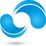 Descensos del agua, descensos, logotipo del agua Imagen de archivo libre de regalías