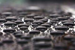 Descensos del agua en el tejado del coche, cierre del fondo de la naturaleza para arriba Foto de archivo