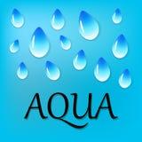 Descensos del agua en fondo azul borroso stock de ilustración