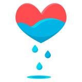 Descensos del azul del corazón Imágenes de archivo libres de regalías
