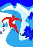 Descent. The mountain skier overcomes masterly abrupt descent stock illustration