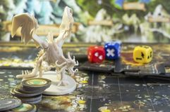 Descent board game, role playing game, dungeons and dragons, dnd. Descent board game, role playing game, dungeons and dragons, dices royalty free stock photo
