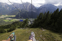 Descent on a chair lift Royalty Free Stock Photo