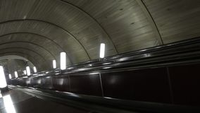 The descent on the escalator in the Moscow metro.  stock footage