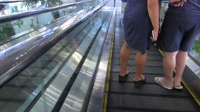The descent on the escalator. stock video