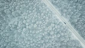Descent through fog or mist to winter spruce forest and road when car driving. Aerial top view of car driving on winter road in spruce forest stock video footage