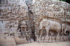 Descent of the Ganges,Bagiratha, Penance rock relief in Mamallapuram,India Stock Photo