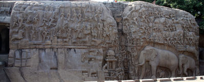 Descent of the Ganges,Bagiratha, Penance rock relief in Mamallapuram,India Royalty Free Stock Images