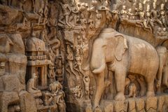Descent of the Ganges, Mahabalipuram, Tamil Nadu, India. Descent of the Ganges is a monument at Mamallapuram, on the Coromandel Coast of the Bay of Bengal, in royalty free stock photo