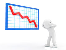 Descent graph. Person suffering from a poor performance stock illustration