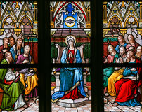 Descent of the Holy Spirit at Pentecost. Stained Glass in the Basilica of Vysehrad in Prague, Czech Republic, depicting the Descent of the Holy Spirit at Royalty Free Stock Photo
