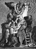 The Descent of Jesus from the Cross. On engraving from 1840. Engraved after a painting by Rubens Royalty Free Stock Photo