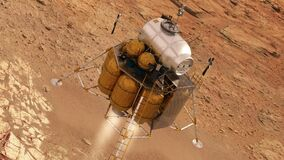 Descent module of interplanetary space station landing on planet mars
