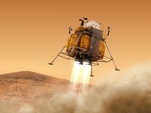 Descent Module Of Interplanetary Space Station Landing on Planet Mars. 3D Illustration vector illustration