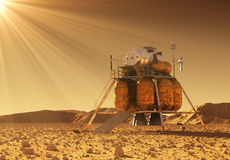 Descent Module Of Interplanetary Space Station In The Rays Of Martian Sun Stock Photos