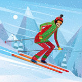 Descent from the mountain on skis. Man skiing with action camera on his head - fun or entertainment concept royalty free illustration