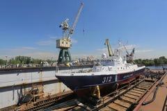Descent of the new coast guard ship. Of the Russian Federation. Sredne-Nevsky Shipyard. Border guard ship of the Federal Security Service of the Russian Royalty Free Stock Photography