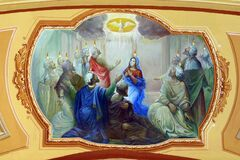 Free Descent Of The Holy Spirit, Pentecost, Fresco In The Church Of The Assumption In Stenjevec, Zagreb, Croatia Royalty Free Stock Photos - 185517418