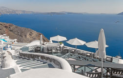The descent in Oia, Santorini, Greece Stock Photo