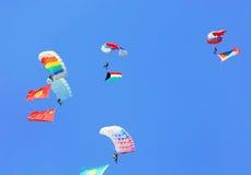 Descent by parachute Stock Images