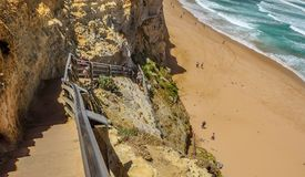 Descent of the stairs to the beach to the Pacific ocean near the. 12 apostles Stock Images