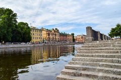 The descent to the river Fontanka.  Stock Images