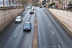 Descent to a road tunnel. A descent to the Pont de l'Alma tunnel in downtown Paris, France. This is the tunnel where Diana, Princess of Wales, was fatally Stock Photography