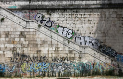 Descent to the Tiber, painted with graffiti. Rome Stock Photography