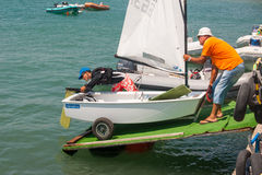 The descent to the water in the boat sailing competitions. Bulgaria Royalty Free Stock Image