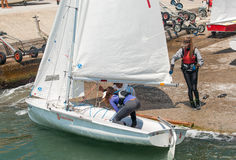 Descent to water Junior class yachts in Pomorie. Bulgaria Stock Image