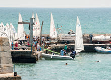 Descent to water sports yachts in Pomorie Stock Photography
