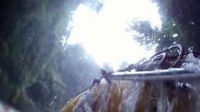 Descent from the Tutea Falls with GoPro. Kaituna rafting. New Zealand stock video footage
