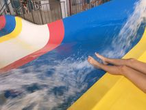 Descent with water in the water park, water beats the fountain.  Royalty Free Stock Photos