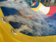 Descent with water in the water park, water beats the fountain.  Royalty Free Stock Images
