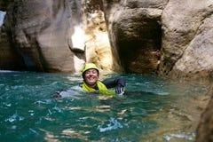 Descente de canyon en Espagne photo stock