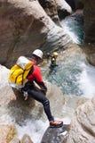 Descente de canyon en Espagne photographie stock