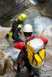 Descente de canyon en Espagne images stock