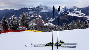 Descente de ski de Saslong en Val Gardena Photo stock