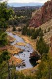 Deschutes River Canyon. Deschutes River - Smith Rock State Park, Terrebon, OR stock photo