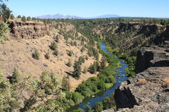 Deschutes River Canyon. The view from the edge of Deschutes River Canyon north of Tumalo, Oregon, is spectacular. Hiking access is via BLM land at the end of stock images
