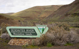 Deschutes River Recreation Lands Sign US Department of the Inter Royalty Free Stock Photos
