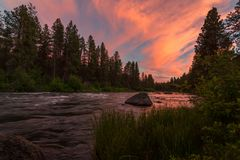 Deschutes River at Sunset. Color image of the Deschutes River at sunset. Central Oregon, USA stock images