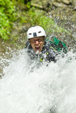 Descida da cachoeira do Canyoning Fotos de Stock Royalty Free