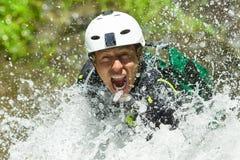 Descida da cachoeira do Canyoning Fotos de Stock